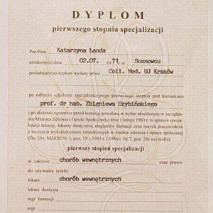 Dyplom specjalizacji w zakresie chorób wewnętrznych